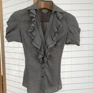Sz 4 Karen Millen gray striped puff sleeve blouse